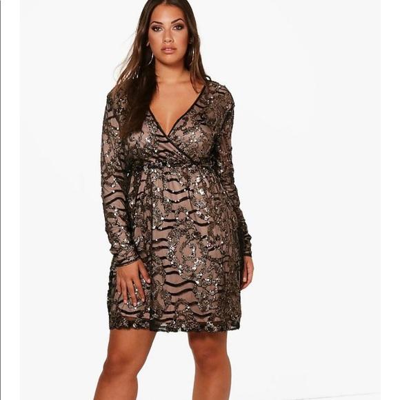 452cceb508ba5 Boohoo Dresses | Nwt Sequined Wrap Dress Size 18 | Poshmark